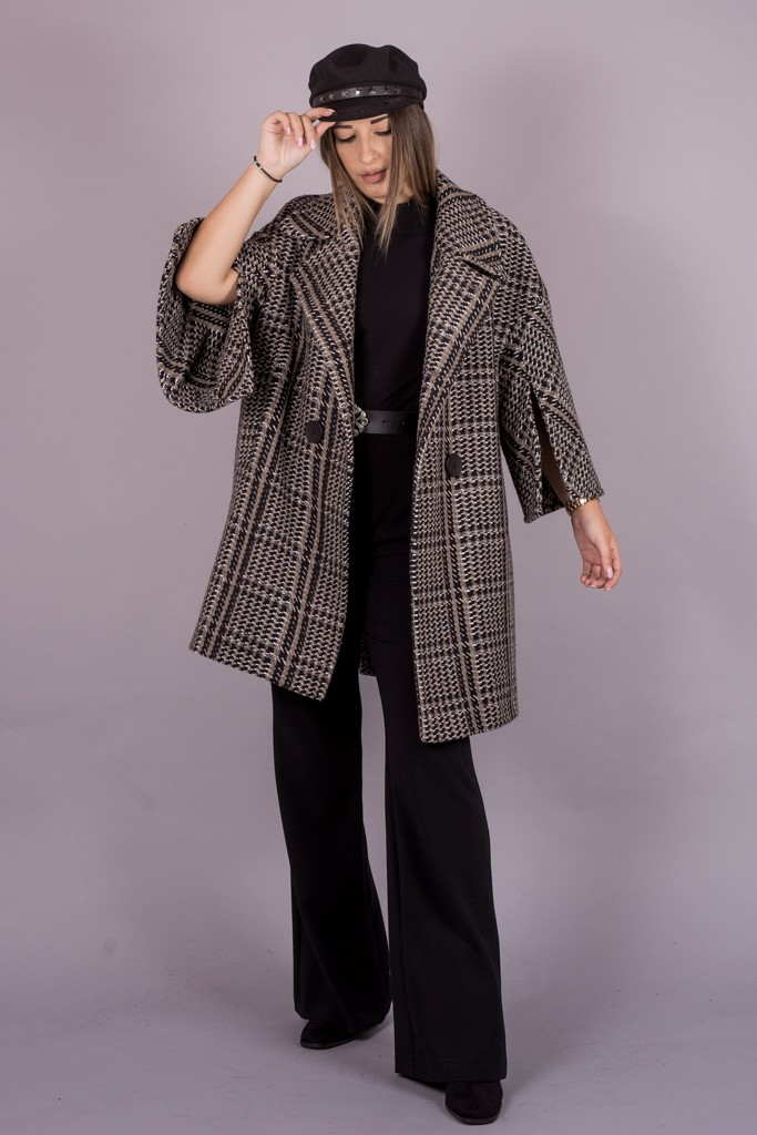 Γυναικεία Ρούχα My Tiffany Παλτό Oversize Καρό