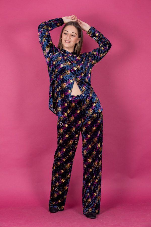 Γυναικεία Ρούχα Scotch & Soda Παντελόνι Βελούδινο Εμπριμέ