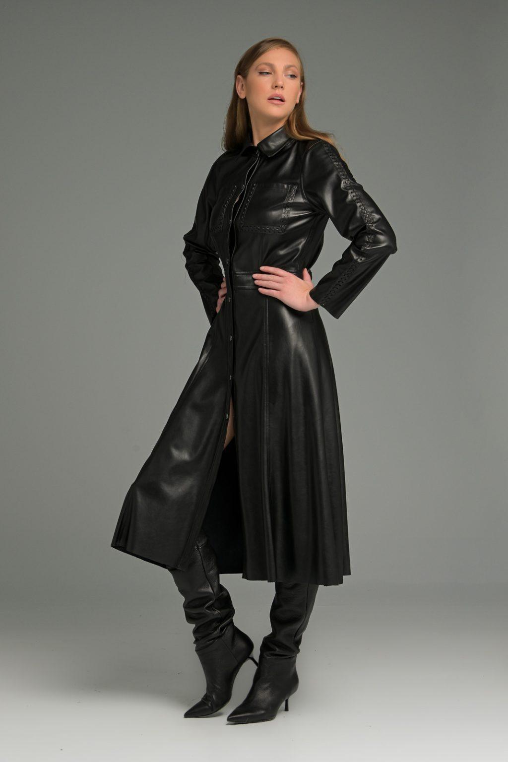 Γυναικεία Ρούχα CMANOLO ΦΟΡΕΜΑ ΔΕΡΜΑΤΙΝΗ ΜΕΣΑΤΟ ΜΕ ΚΟΥΜΠΙΑ