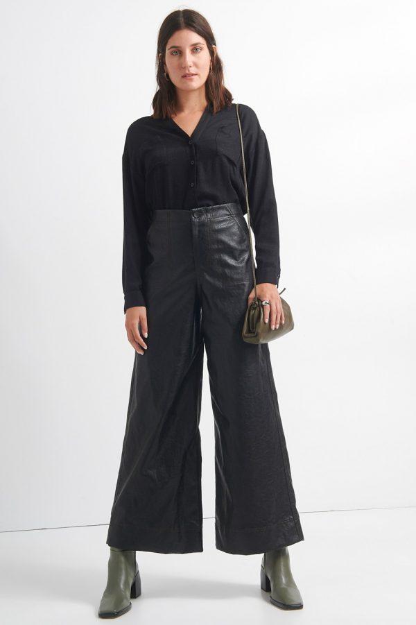 Γυναικεία Ρούχα BLACK&BLACK ΠΑΝΤΕΛΟΝΑ ΔΕΡΜΑΤΙΝΗ CROP