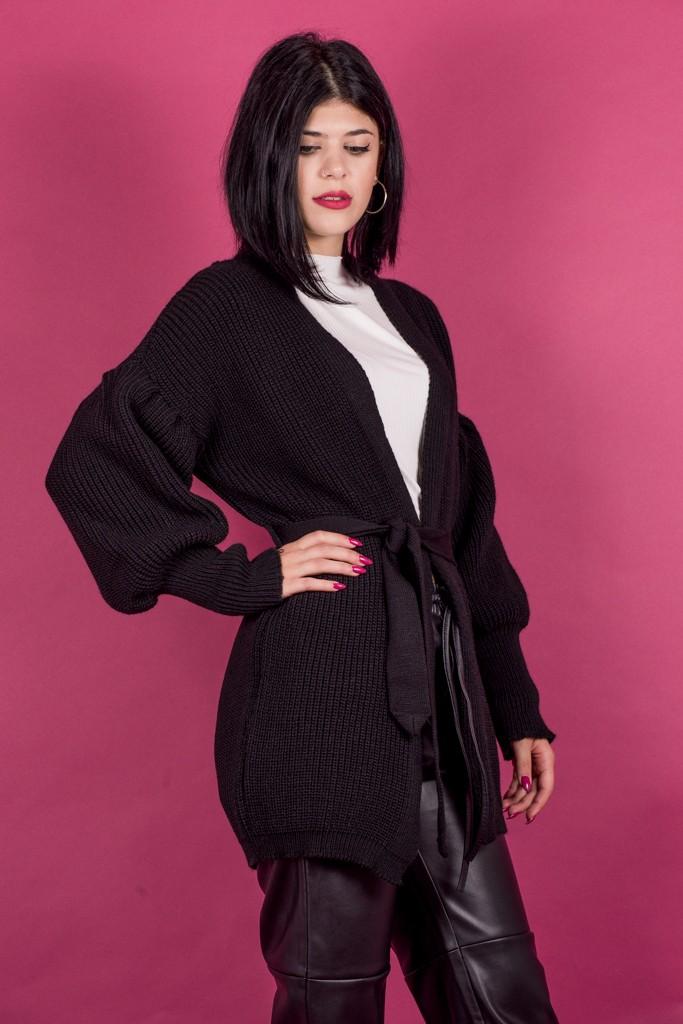 Γυναικεία Ρούχα BLACK&BLACK ΠΛΕΚΤΗ ΖΑΚΕΤΑ PUFF SLEEVES