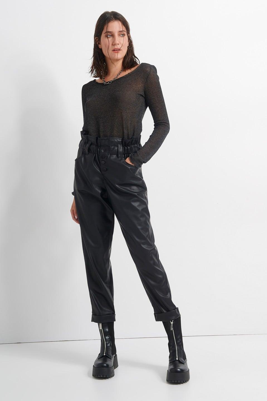 Γυναικεία Ρούχα BLACK&BLACK LOOSE ΔΕΡΜΑΤΙΝΗ ΠΑΝΤΕΛΟΝΙ