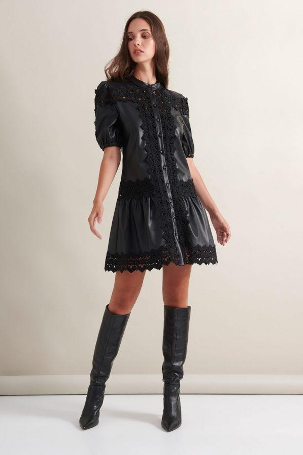 Γυναικεία Ρούχα LACE ΦΟΡΕΜΑ SATIN ΕΞΩ ΠΛΑΤΗ