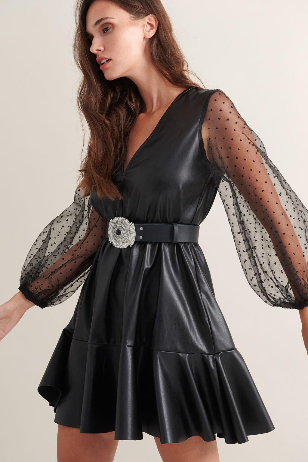 Γυναικεία Ρούχα LACE ΦΟΡΕΜΑ ΔΕΡΜΑΤΙΝΗ ΜΙΝΙ