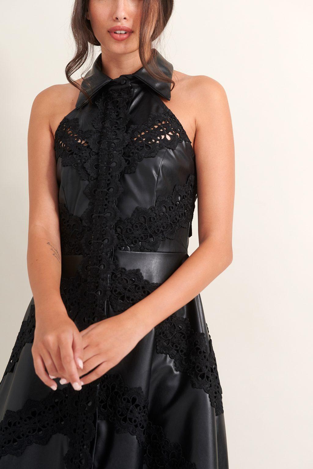 Γυναικεία Ρούχα LACE ΦΟΡΕΜΑ ΔΕΡΜΑΤΙΝΗ ΣΕΜΙΖΙΕ ΜΕ ΔΑΝΤΕΛΕΣ