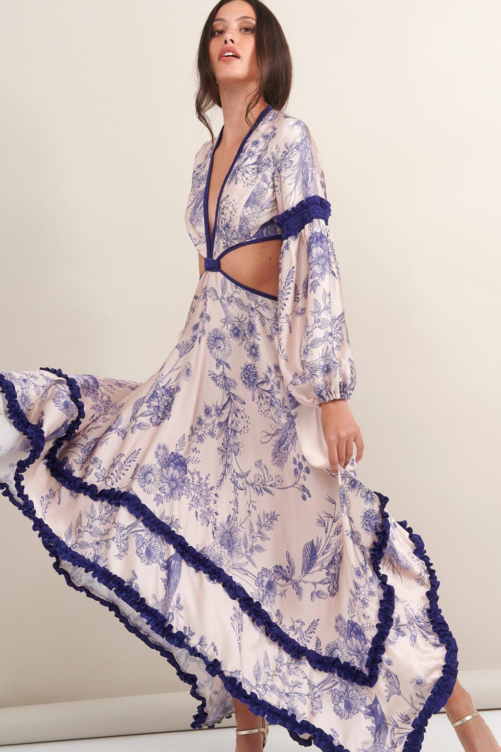 Γυναικεία Ρούχα LACE ΦΟΡΕΜΑ FLORAL ΜΕ ΑΝΟΙΓΜΑΤΑ ΣΤΗΝ ΜΕΣΗ