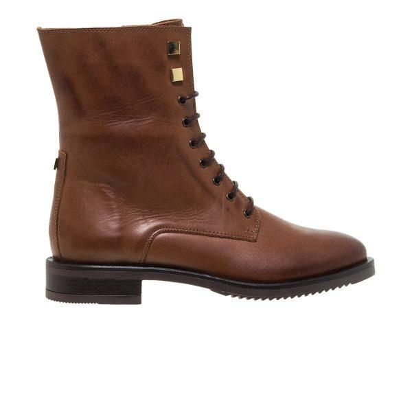 Παπούτσια Mourtzi Δερμάτινα Δετά Μποτάκια Με Χρυσά Διακοσμητικά