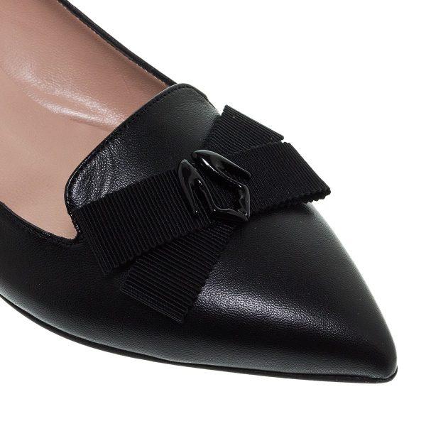 Παπούτσια Mourtzi Μαύρες Δερμάτινες Μυτερές Μπαλαρίνες Mε Διακοσμητικό