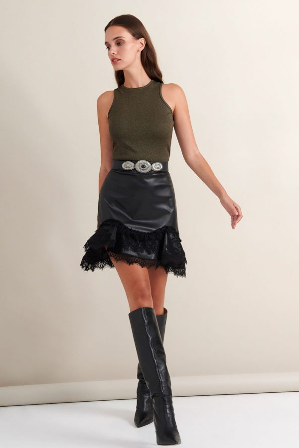 Γυναικεία Ρούχα LACE ΦΟΥΣΤΑ ΜΙΝΙ ΔΕΡΜΑΤΙΝΗ