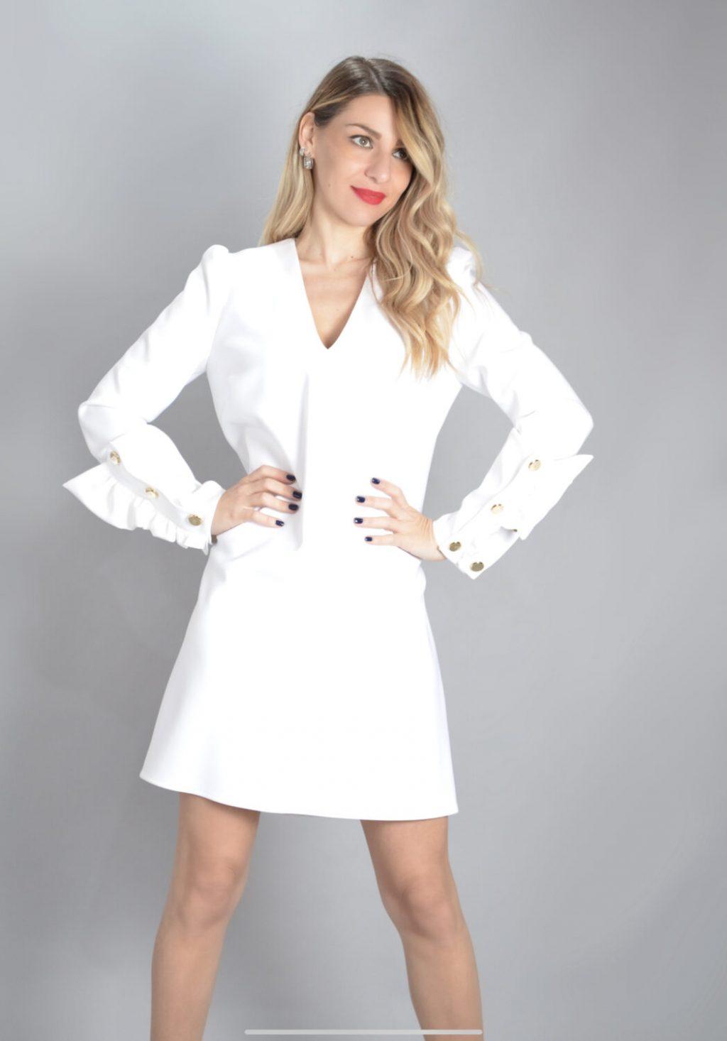 Γυναικεία Ρούχα ELISABETTA FRANCHI ECRU DRESS