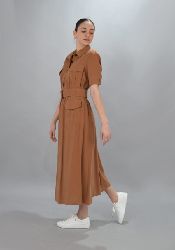 Γυναικεία Ρούχα CKONTOVA MIDI POCKET DRESS CARAMEL