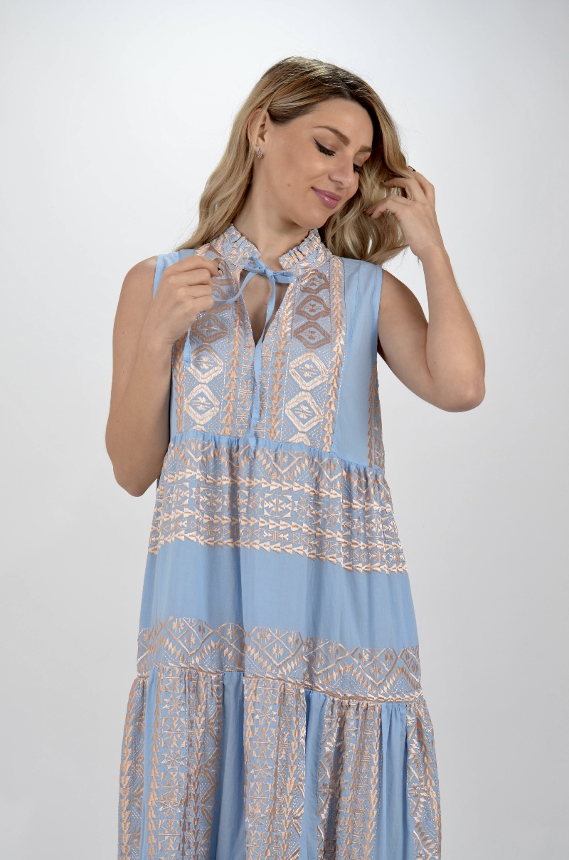 Collection Spring - Summer 2021 KORI-GREEK ARCHAIC MAXI BOHO DRESS ΑΜΑΝΙΚΟ