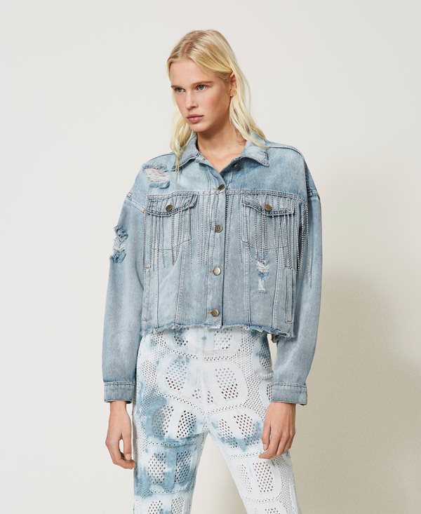 Collection Spring - Summer 2021 TWIN-SET DENIM JACKET WITH BEZEL FRINGES