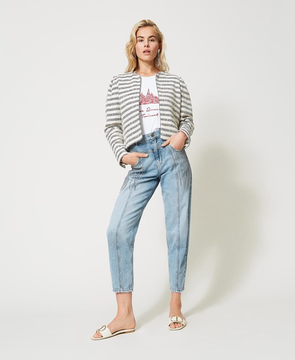Collection Spring - Summer 2021 TWIN-SET JEANS WITH BEZEL FRINGES
