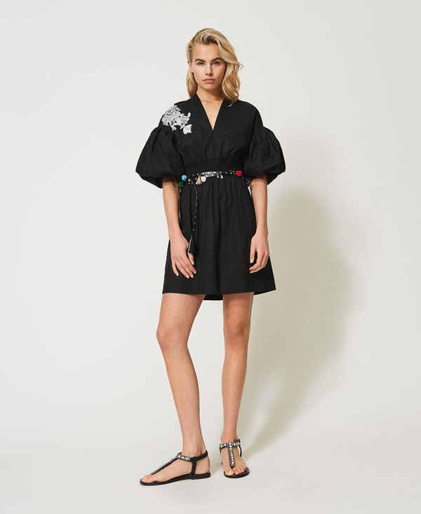 Collection Spring - Summer 2021 TWIN-SET POPLIN DRESS WITH EMBROIDERY