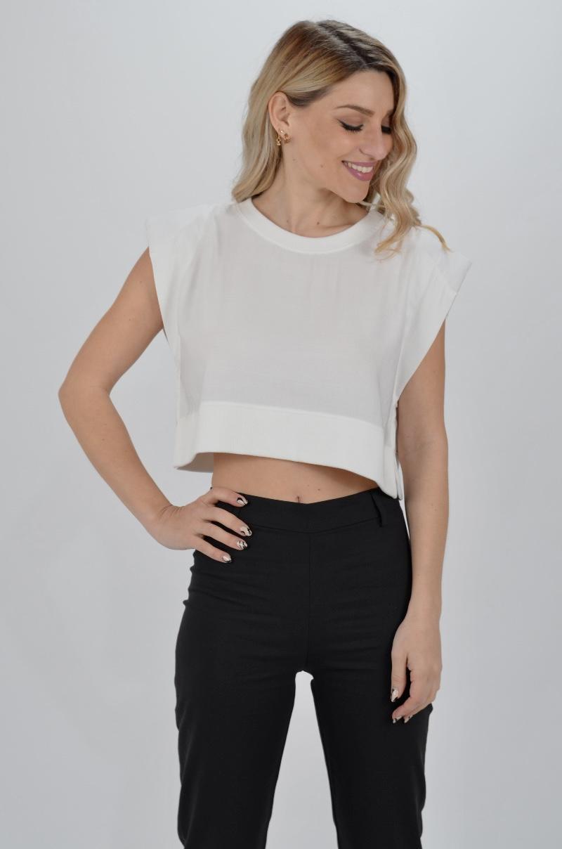 Γυναικεία Ρούχα BLACK & BLACK ΜΠΛΟΥΖΑ CROP TOP