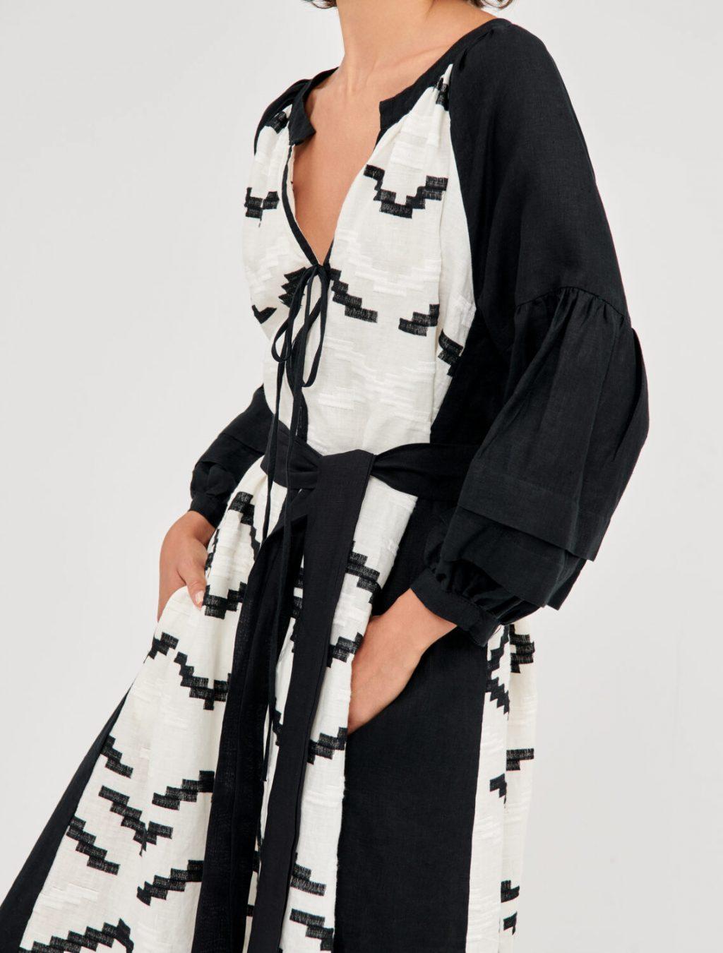 Collection Spring - Summer 2021 GREEK ARCHAIC KORI BOHO EMBROIDERED  MAXI DRESS