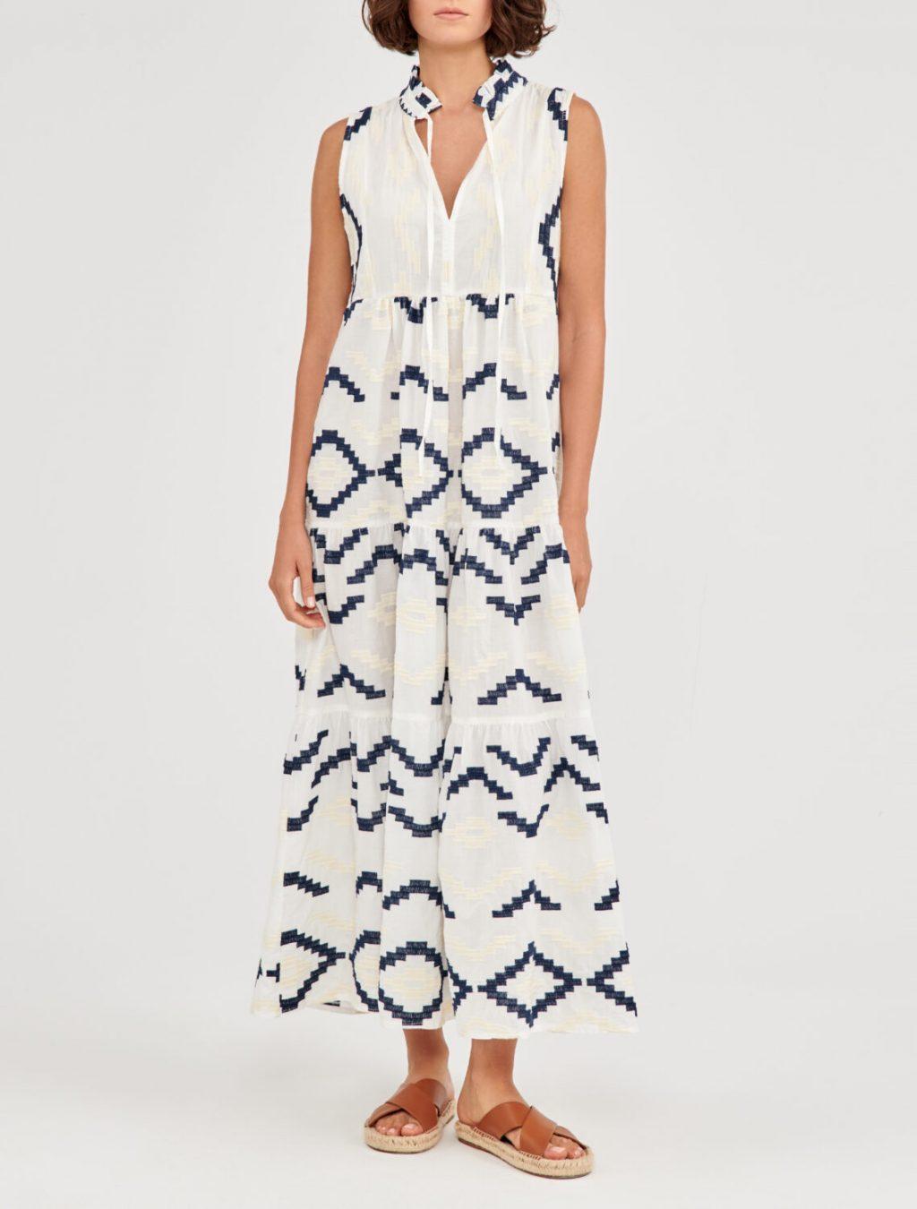 Collection Spring - Summer 2021 GREEK ARCHAIC KORI BOHO MAXI DRESS EMBROIDERED