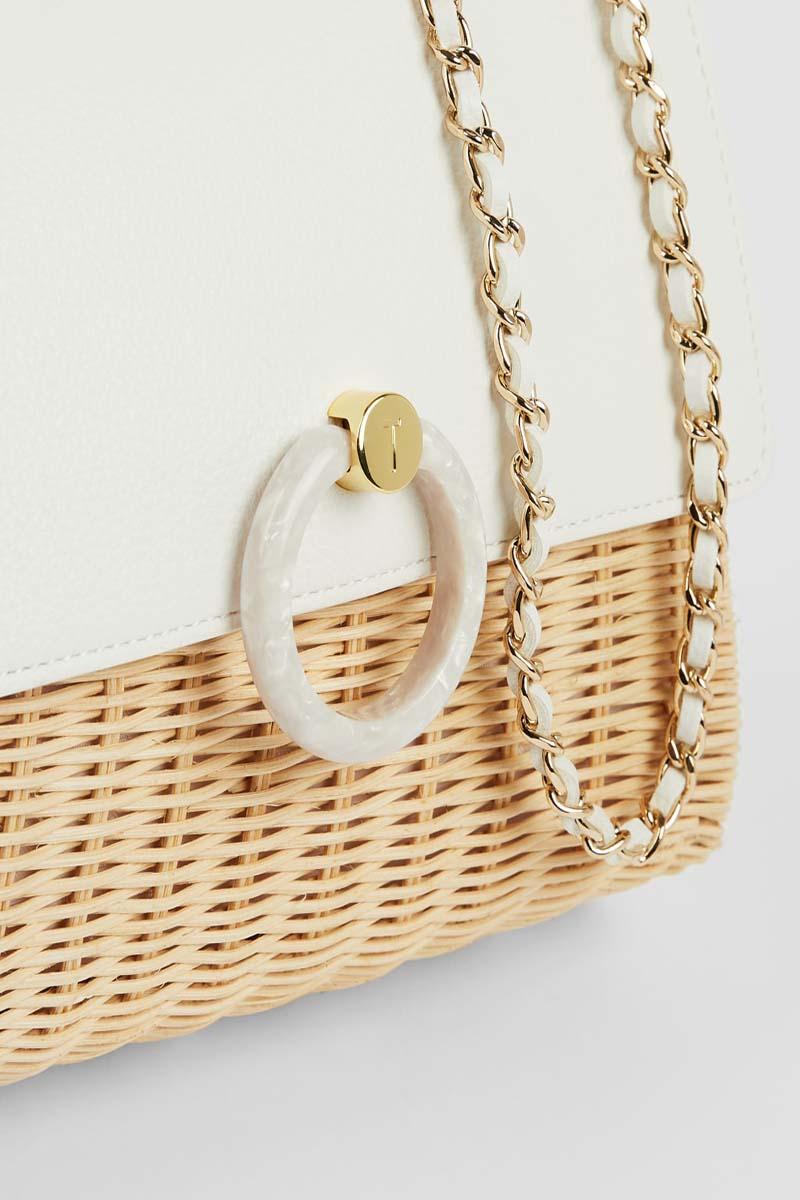 Collection Spring - Summer 2021 TED BAKER JANIYA STRAW CIRCLE  LOCK CROSSBODY BAG