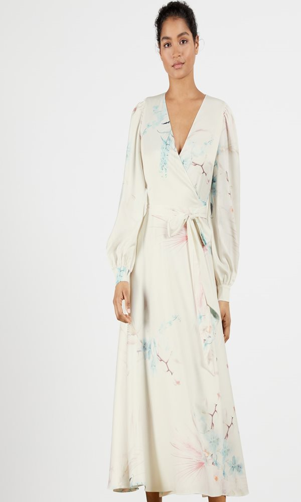 Collection Spring - Summer 2021 TED BAKER FLOSSSI FLORAL WRAP LONG SLEEVE MIDI DRESS
