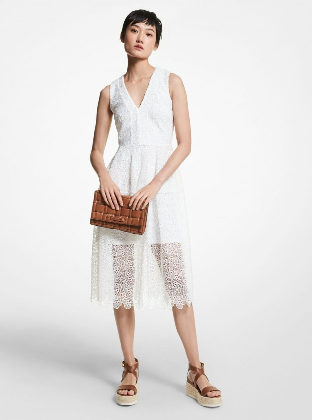 Collection Spring - Summer 2021 MICHAEL KORS FLORAL LACE DRESS WHITE