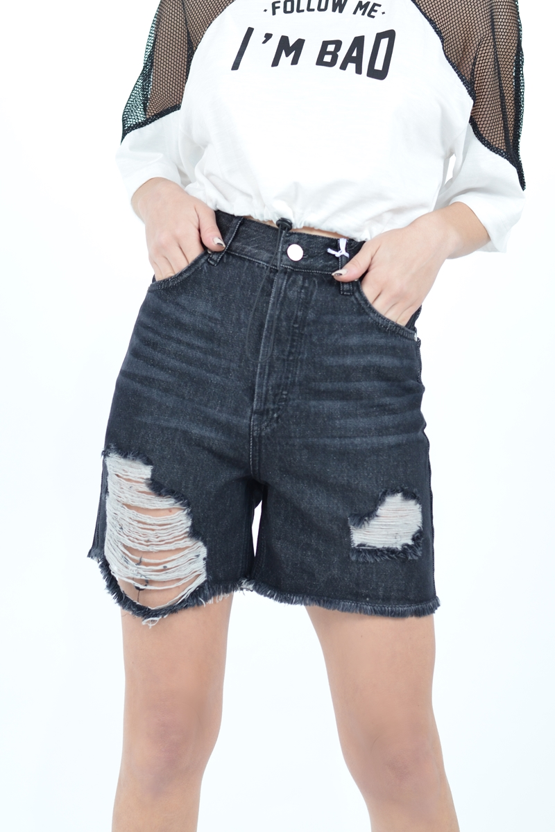 Collection Spring - Summer 2021 KENDALL + KYLIE HIGH RISE SHORTS DESTROYED DENIM