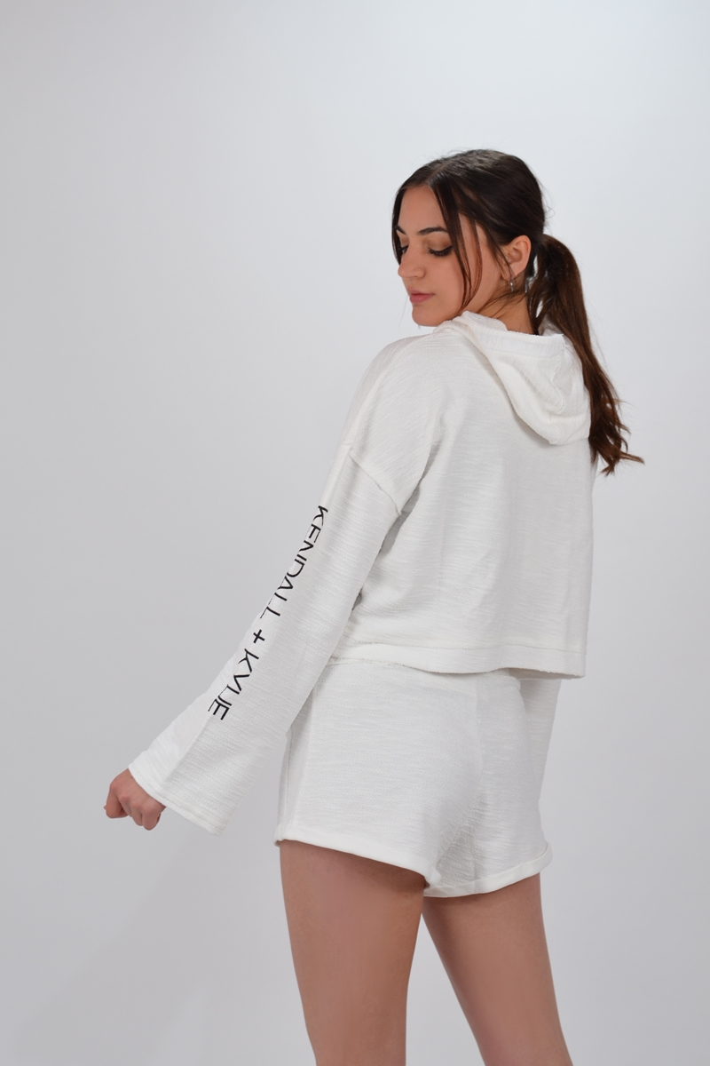 Collection Spring - Summer 2021 KENDALL + KYLIE ACTIVE HOODY INSIDE OUT SHORT SWEATER