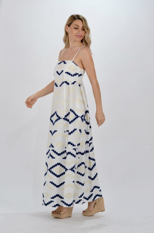 Collection Spring - Summer 2021 KORI-GREEK ARCHAIC EMBROIDERED DRESS ΜΕ ΤΙΡΑΝΤΕΣ