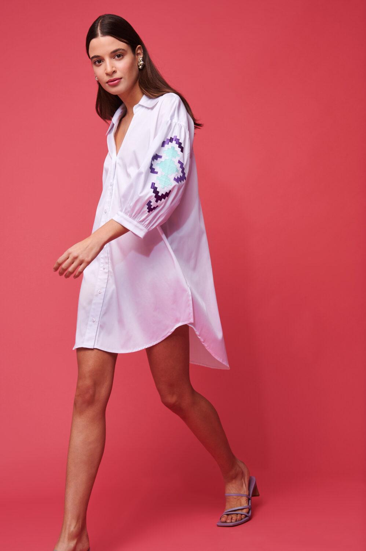 Collection Spring - Summer 2021 NEMA SHIRT DRESS EMBROIDERED