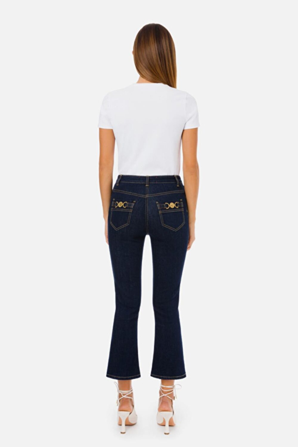 Collection Spring - Summer 2021 ELISABETTA FRANCHI FLARED CROPPED JEANS