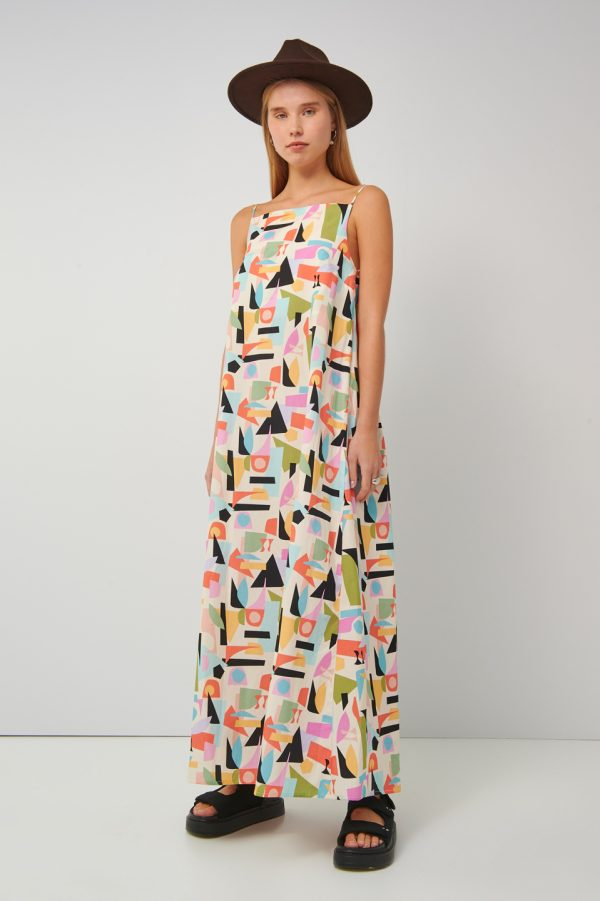 Collection Spring - Summer 2021 BLACK & BLACK MULTICOLORED DRESS ΕΞΩΠΛΑΤΟ