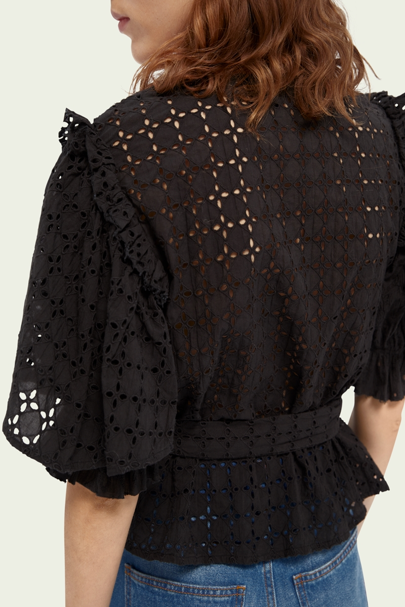Collection Spring - Summer 2021 SCOTCH&SODA BRODERIE ANGLAISE TOP