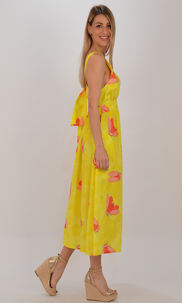 Collection Spring - Summer 2021 WE ARE V NECK OPEN BACK YELLOW MIDI DRESS