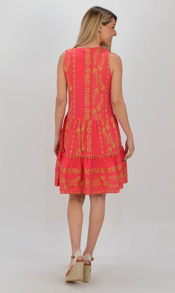 Collection Spring - Summer 2021 NEMA CLIO EMBROIDERED FUCHSIA-GOLD SHORT DRESS