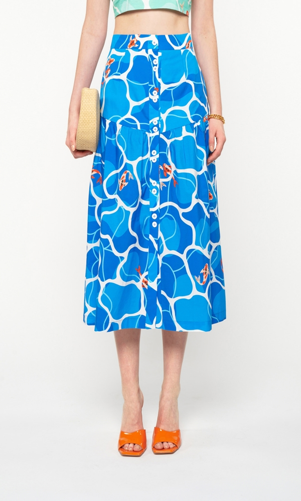 Collection Spring - Summer 2021 WE ARE FITTED WAIST MIDI SKIRT