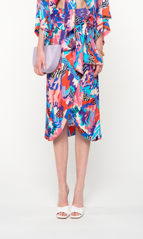 Collection Spring - Summer 2021 WE ARE WRAP DRAPED MIDI SKIRT