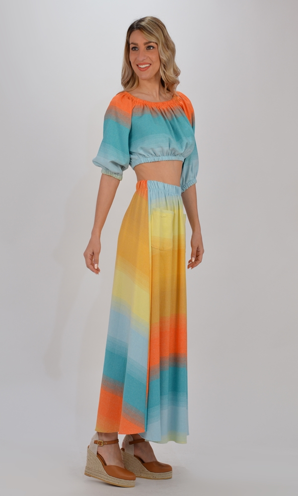 Collection Spring - Summer 2021 THE LULU MULTICOLORED CROP TOP + SKIRT (SET)