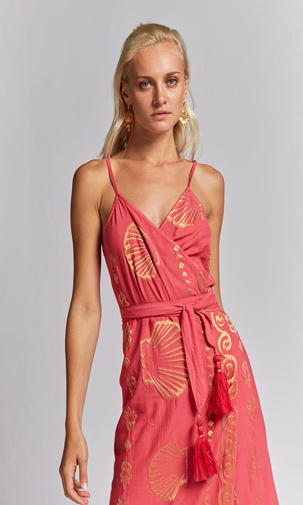 Collection Spring - Summer 2021 NEMA CALLIOPE FUCHSIA-GOLD EMBROIDERED DRESS
