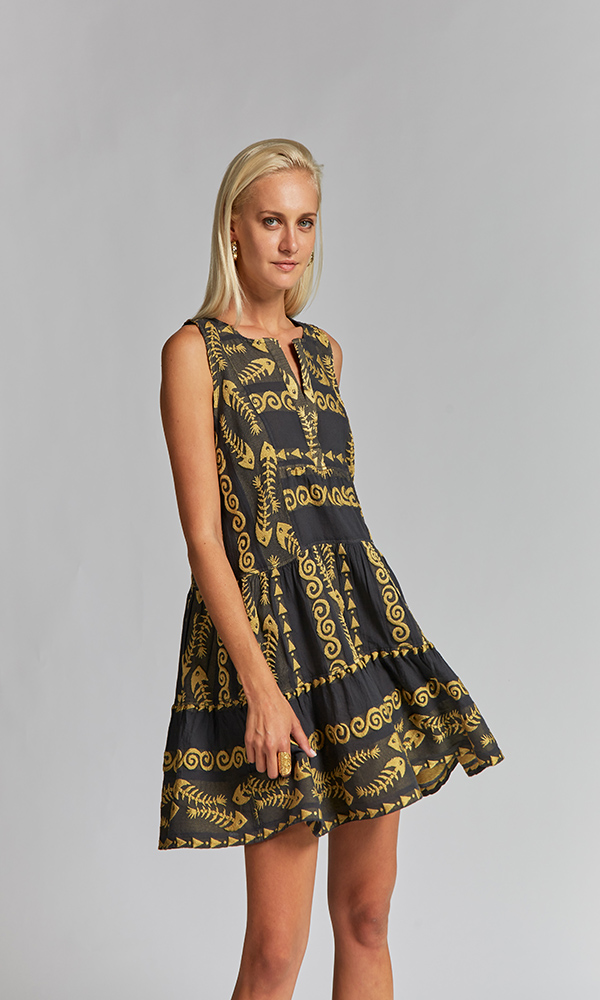 Collection Spring - Summer 2021 NEMA CLIO EMBROIDERED GREY-GOLD SHORT DRESS