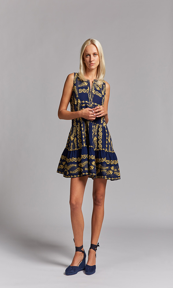 Collection Spring - Summer 2021 NEMA CLIO EMBROIDERED OCEAN BLUE-GOLD SHORT DRESS