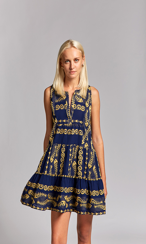 Collection Spring - Summer 2021 NEMA CLIO EMBROIDERED  BLUE-GOLD SHORT DRESS
