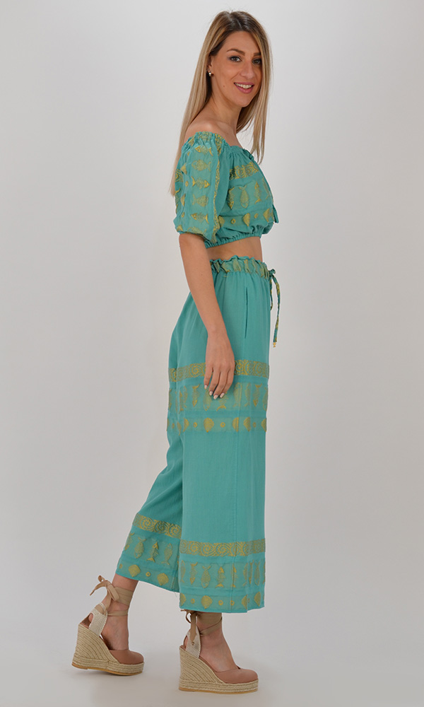 Collection Spring - Summer 2021 NEMA ERATO MINT-GOLD EMBROIDERED CROP PANTS