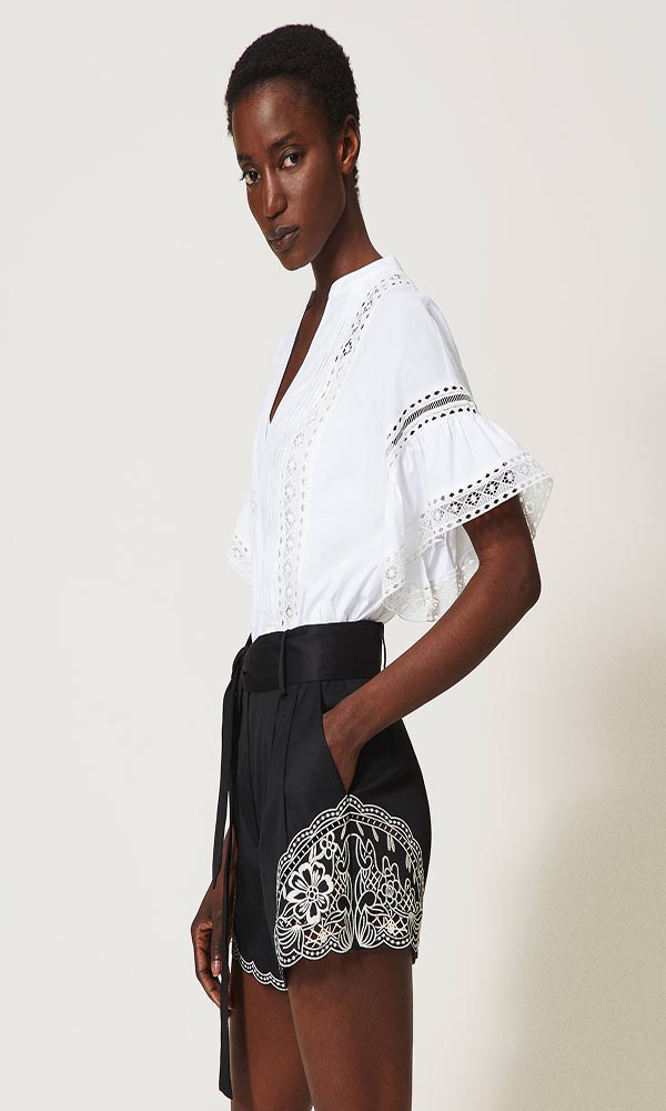 Collection Spring - Summer 2021 TWIN-SET POPLIN BLOUSE WITH LACE