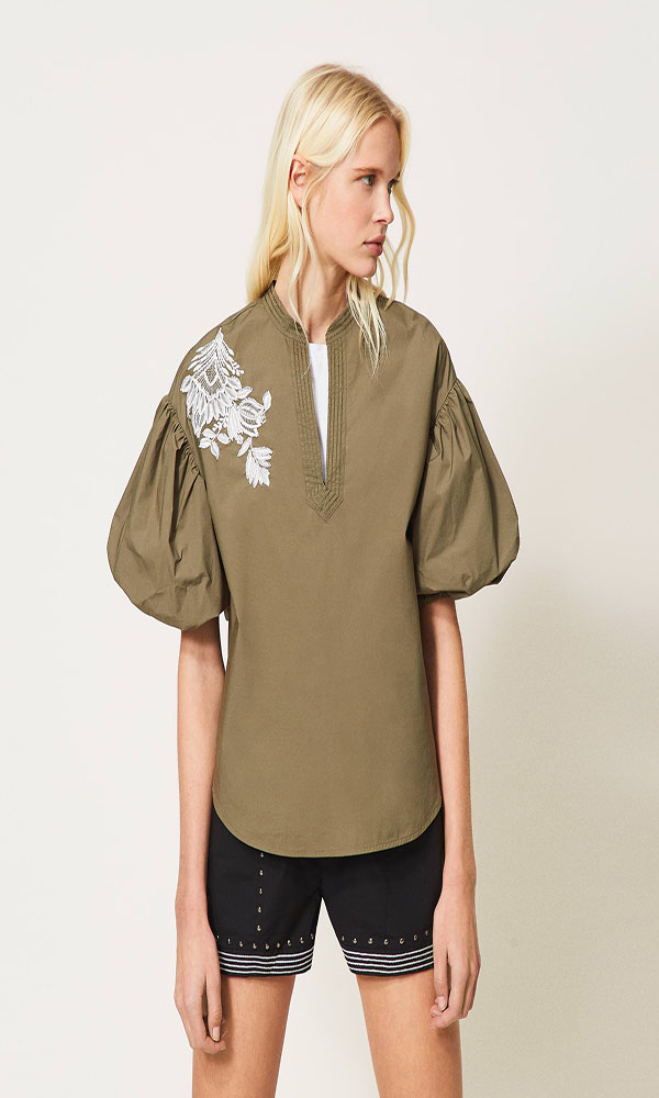 Collection Spring - Summer 2021 TWIN-SET POPLIN BLOUSE WITH STUDS