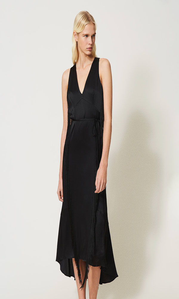 Collection Spring - Summer 2021 TWIN-SET SILK BLEND SATIN LONG DRESS WITH FRINGES