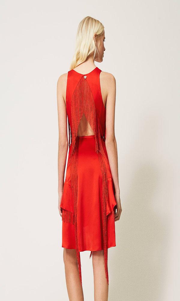 Collection Spring - Summer 2021 TWIN-SET SILK BLEND SATIN SHORT DRESS WITH FRINGES