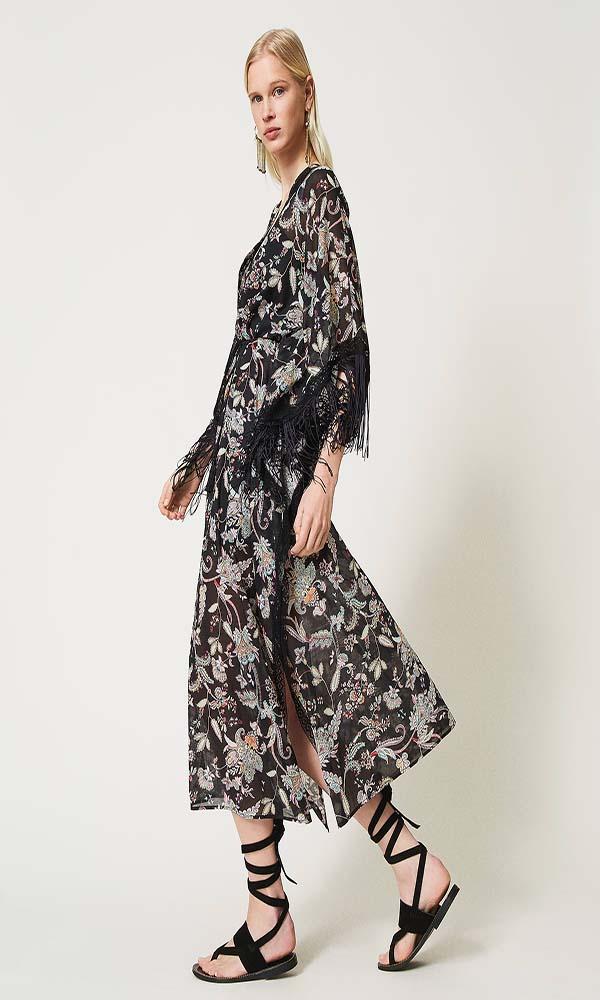 Collection Spring - Summer 2021 TWIN-SET MUSLIN FLORAL KAFTAN DRESS