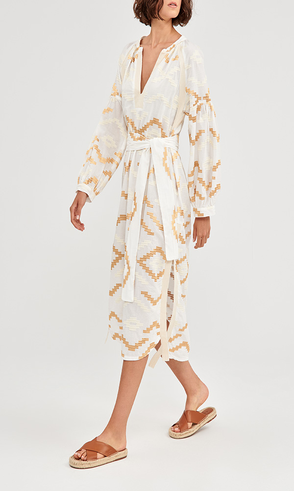 Collection Spring - Summer 2021 KORI – GREEK ARCHAIC MAXI EMBROIDERED DRESS