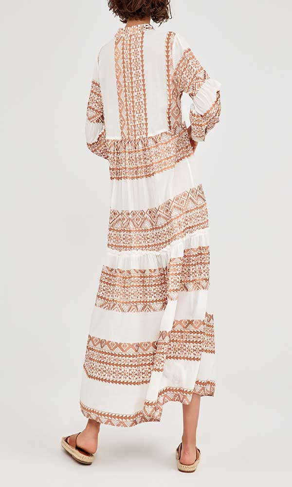 Collection Spring - Summer 2021 KORI-GREEK ARCHAIC EMBROIDERED LONG SLEEVE DRESS