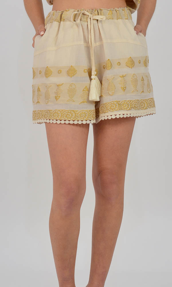 Collection Spring - Summer 2021 NEMA THALIA OFF WHITE-GOLD EMBROIDERED SHORTS